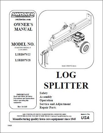 Swisher Log Splitter Owners Manuals